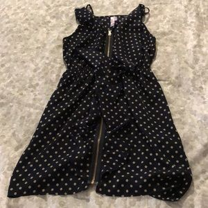 Navy polka dot dress- spaghetti strap
